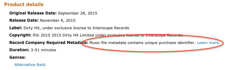 Music file metadata contains unique purchase identifier.